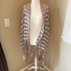 Rainbow Open Knit Handmade Shawl / Scarf